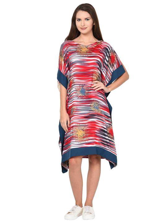 Aujjessa Red Multi Cold Shoulder Kaftan Dress