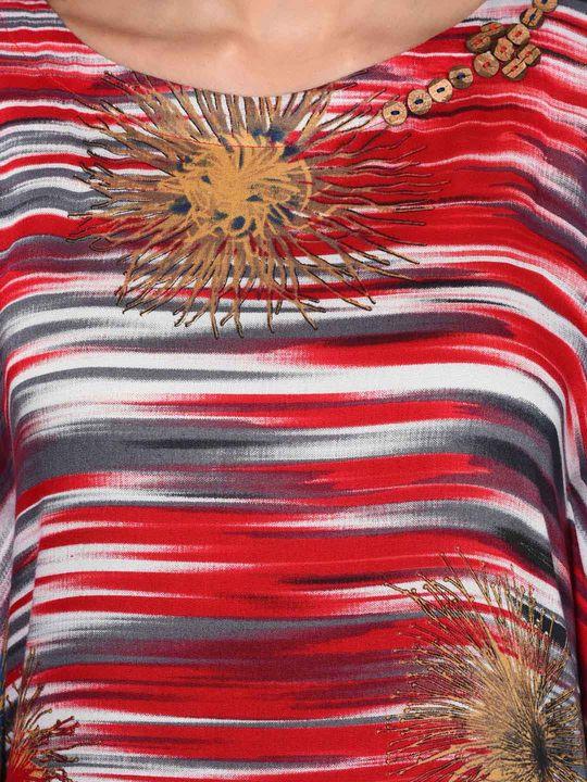 Aujjessa Red Multi Cold Shoulder Kaftan Dress