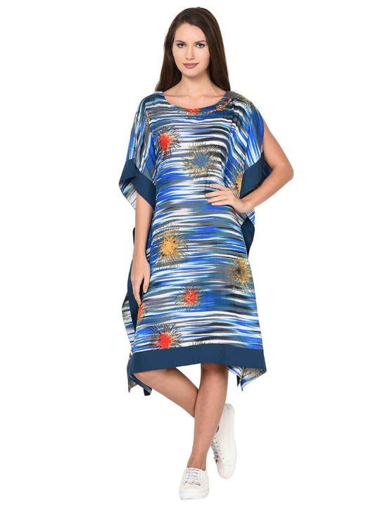 Aujjessa Blue Multi Cold Shoulder Kaftan Dress
