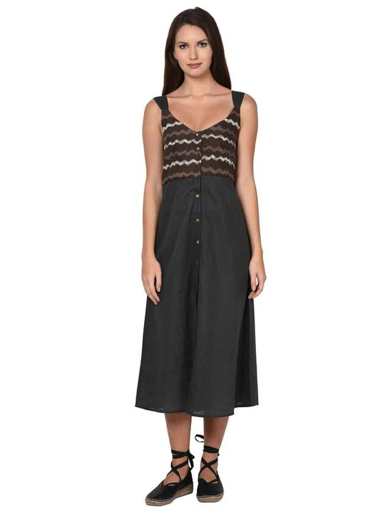 Aujjessa Grey A-Line Spaghetti Dress