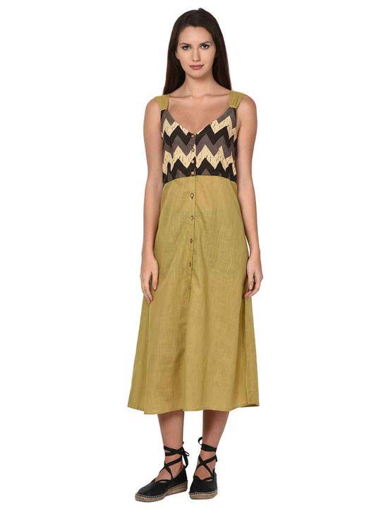 Aujjessa Beige A-Line Spaghetti Dress