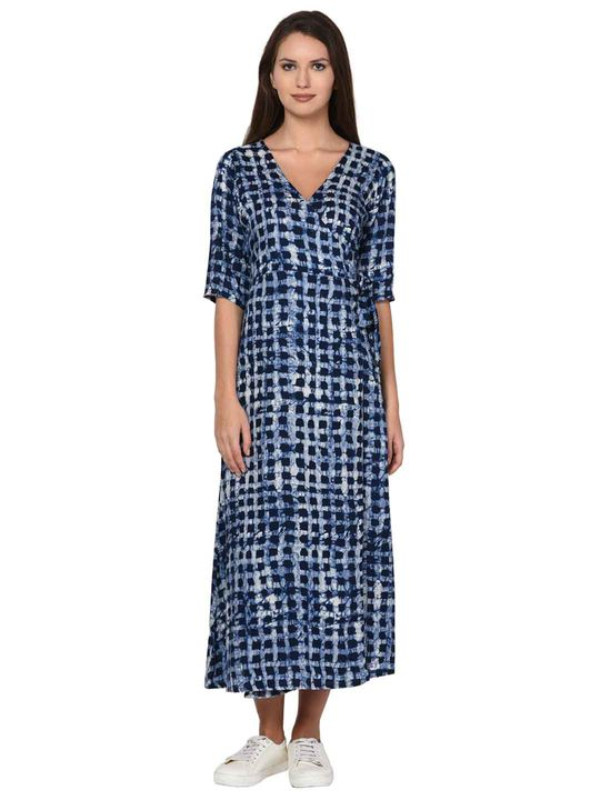 Aujjessa Indigo Overlap Flared Dress
