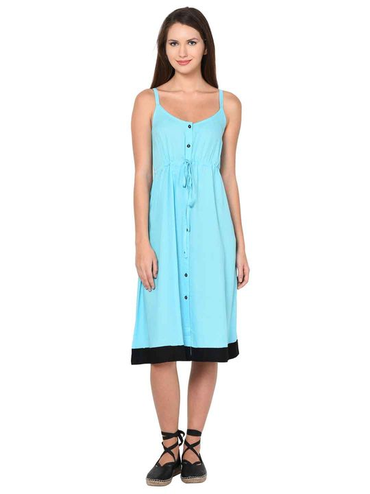 Aujjessa Mint Blue A-Line Spaghetti Dress