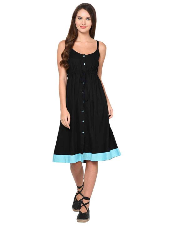 Aujjessa Black A-Line Spaghetti Dress