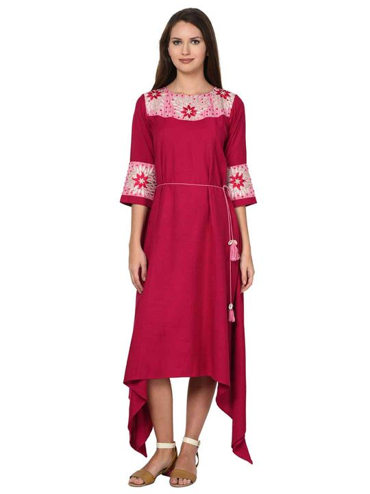 Aujjessa Magenta Asymmetrical Embroidered Flared Dress