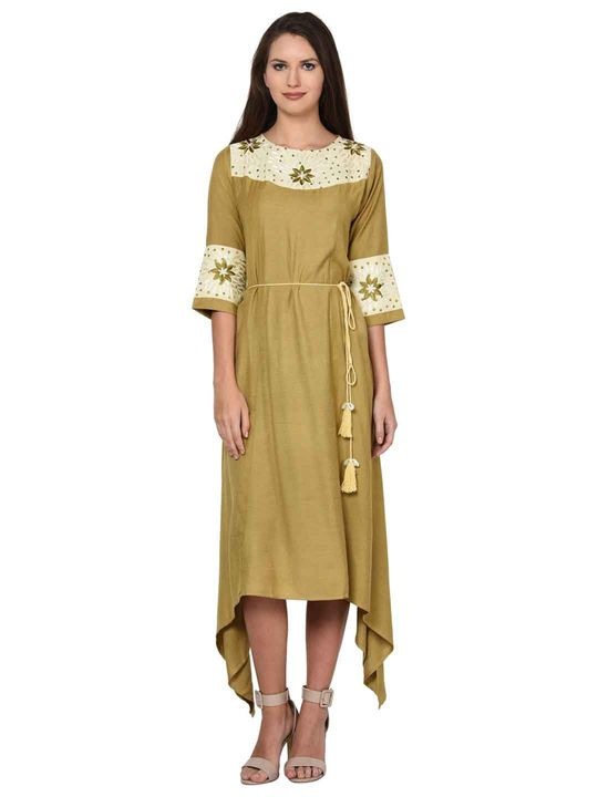 Aujjessa Faun Asymmetrical Embroidered Flared Dress