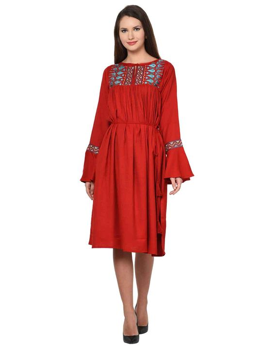 Aujjessa Red Boho Empire Line Dress