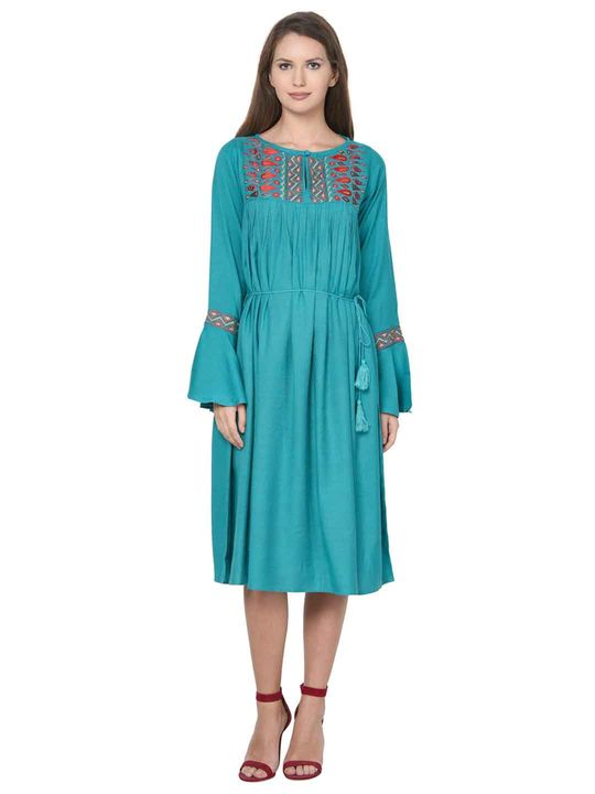 Aujjessa Turquoise Boho Empire Line Dress
