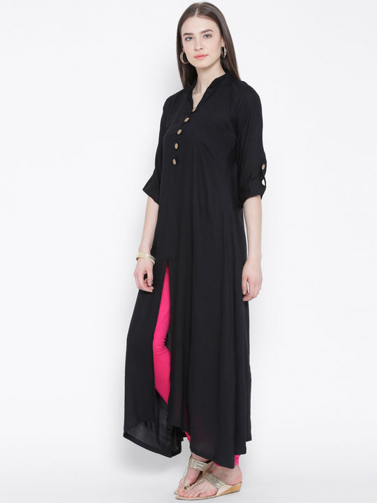 Aujjessa Black A-Line Kurta with Front Slit