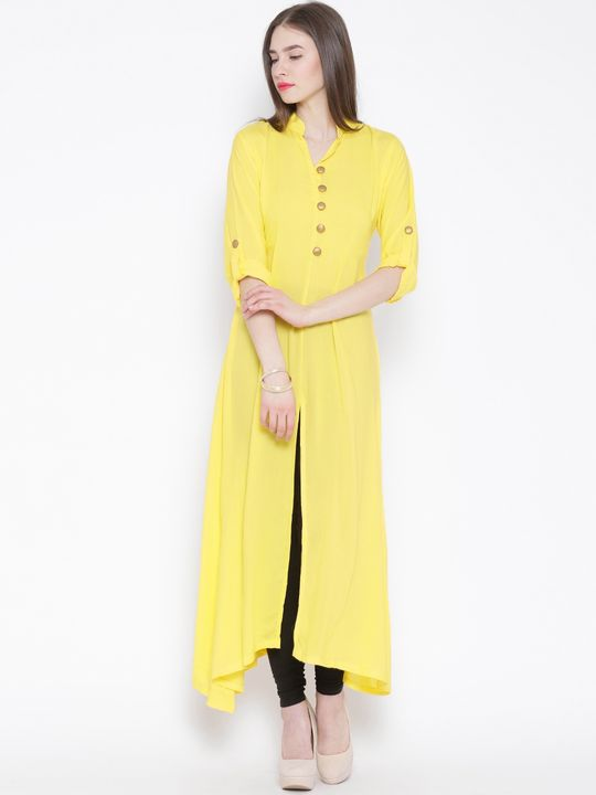 Aujjessa Yellow A-Line Kurta with Front Slit