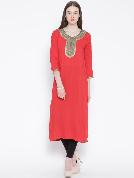 Aujjessa Red Straight Embroidered Kurta