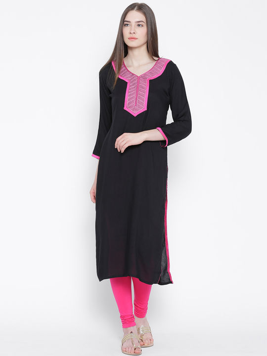 Aujjessa Black Straight Embroidered Kurta