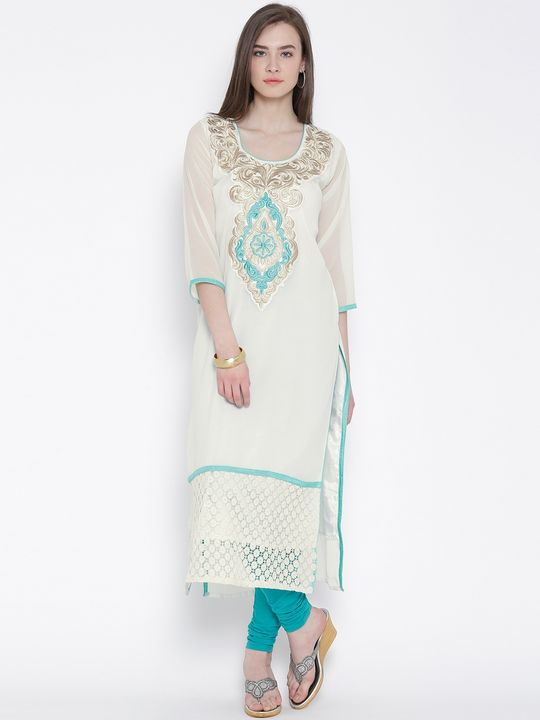 Aujjessa Off White Straight Georgette Kurta