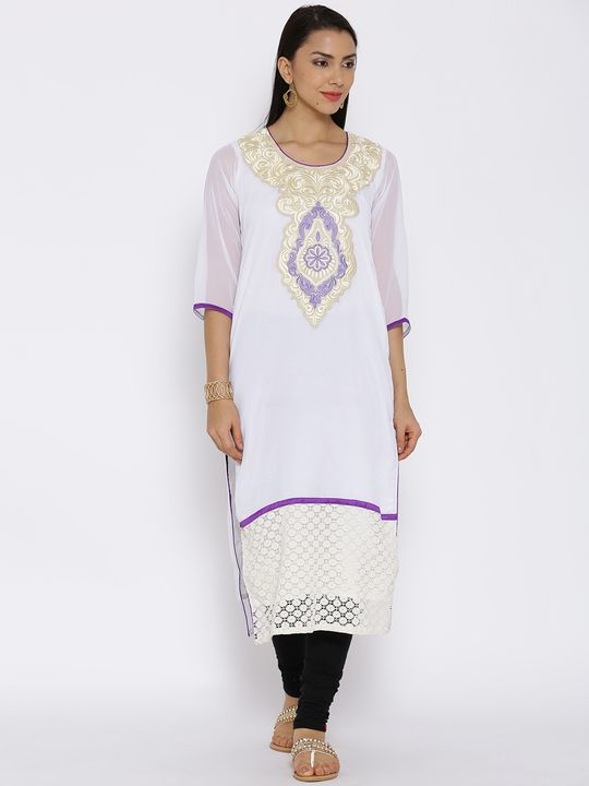 Aujjessa Ivory Purple Straight Georgette Kurta