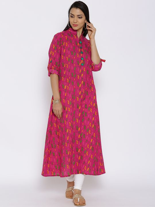 Aujjessa Fuschia Multi Cotton Kurta