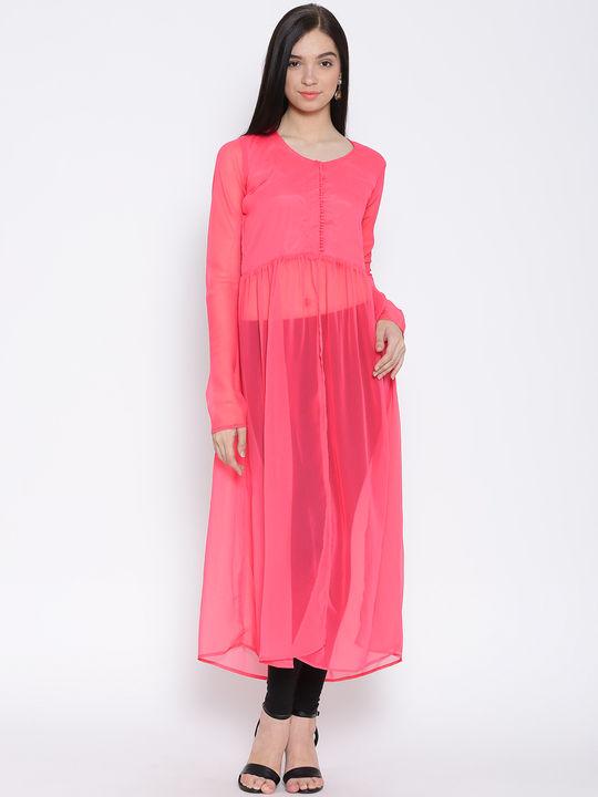Aujjessa Pink Front Slit Georgette Jacket Kurta