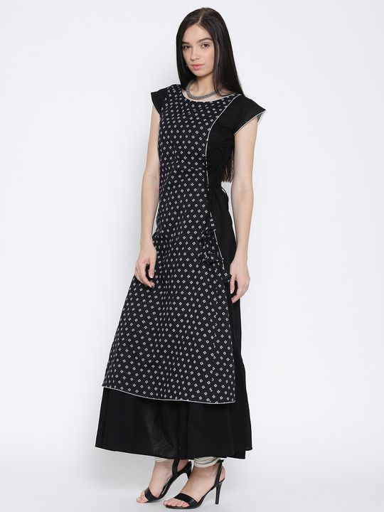 Aujjessa Black & White Flared Anarkali Dress