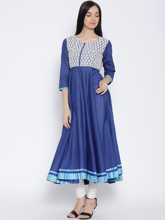 Aujjessa Royal Blue Anarkali Mulmul Kurta