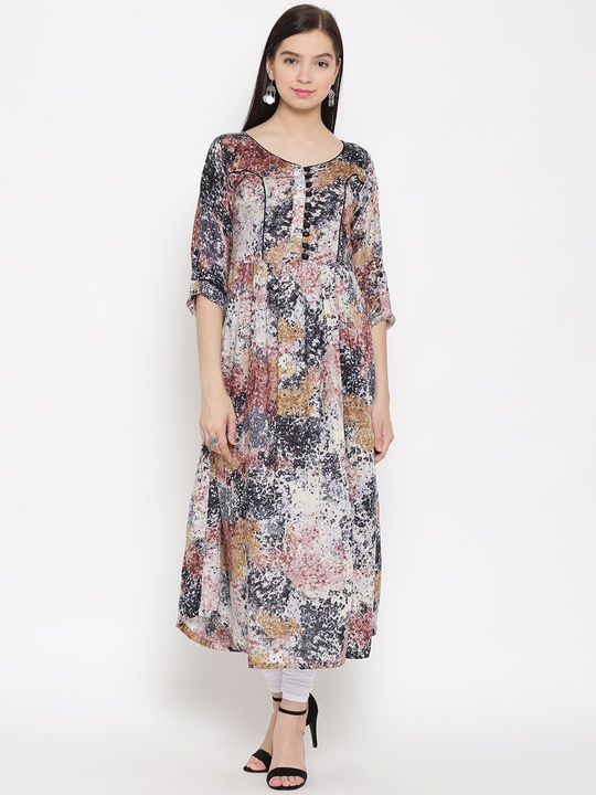 Aujjessa Brown Black Side Slit Gathered Rayon Printed Kurta
