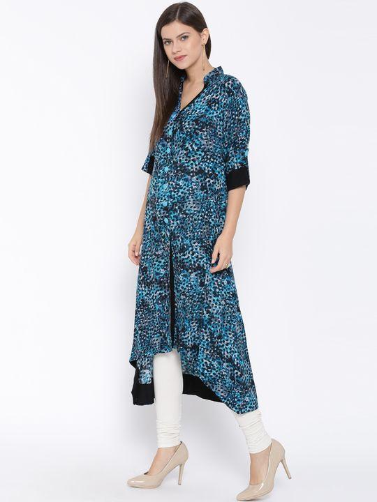 Aujjessa Black Turquoise Front Slit Asymmetrical Rayon Kurta