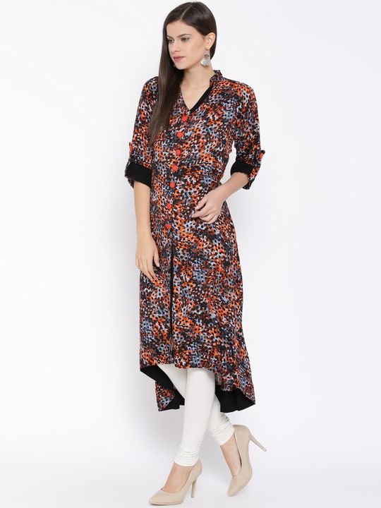 Aujjessa Black Orange Front Slit Asymmetrical Rayon Kurta