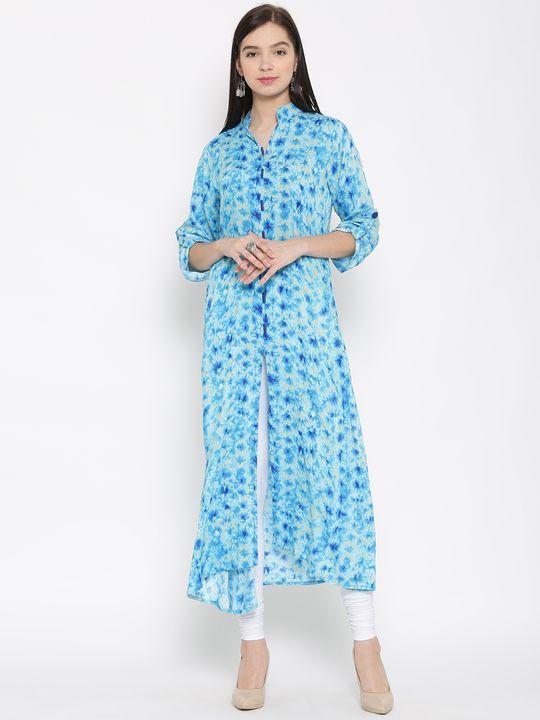 Aujjessa Turquoise Front Slit A-Line Printed Rayon Kurta