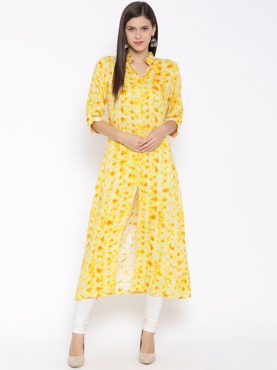 Aujjessa Yellow Front Slit A-Line Printed Rayon Kurta