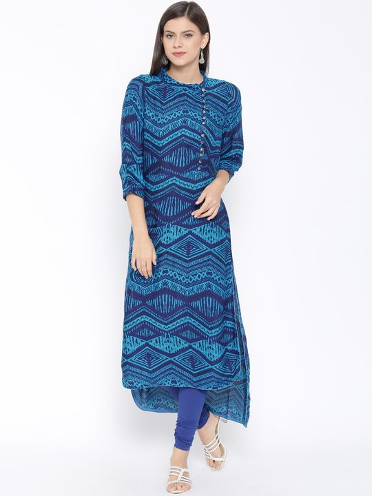 Aujjessa Turquoise Blue Straight Printed Rayon Kurta