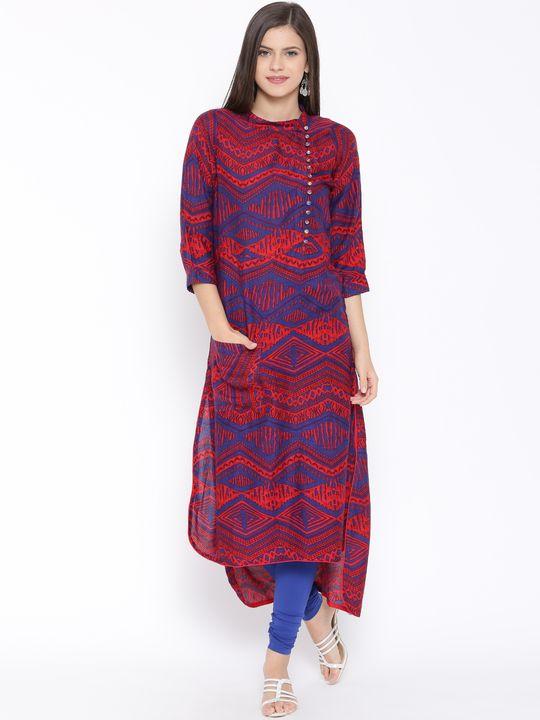 Aujjessa Red Blue Straight Printed Rayon Kurta