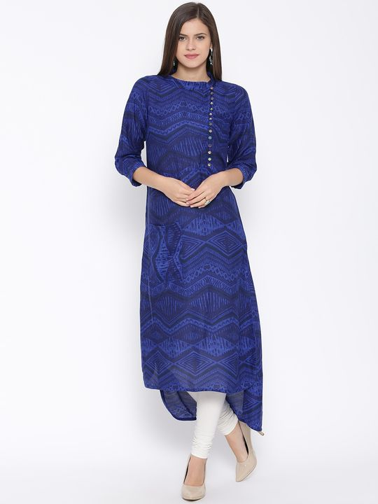 Aujjessa Royal Blue Straight Printed Rayon Kurta