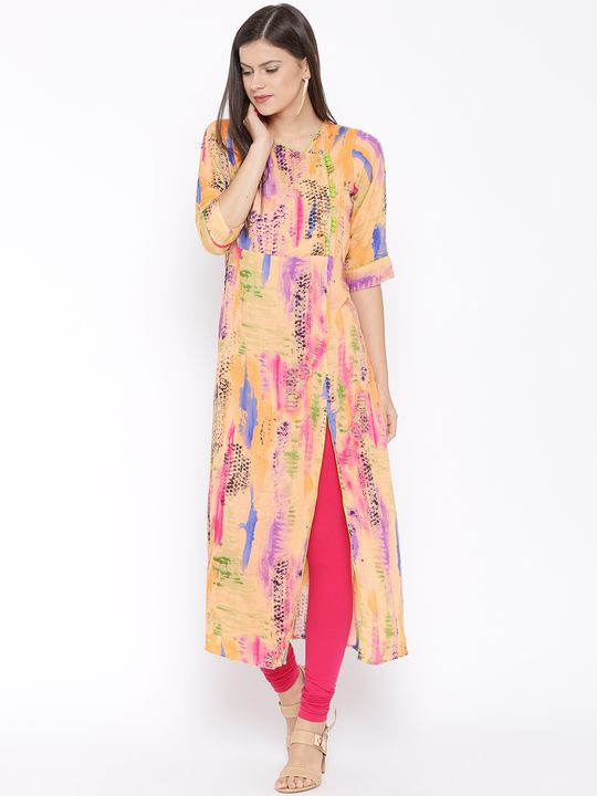 Aujjessa Orange Multi Side Slit A-Line Rayon Printed Kurta