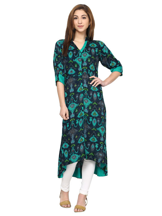 Aujjessa Navy Sea Green Front Slit High Low Kurta