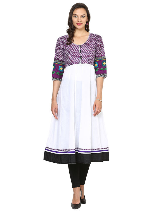 Aujjessa White Purple Cotton Anarkali Kurta