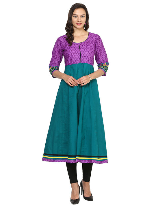 Aujjessa Teal Purple Cotton Anarkali Kurta