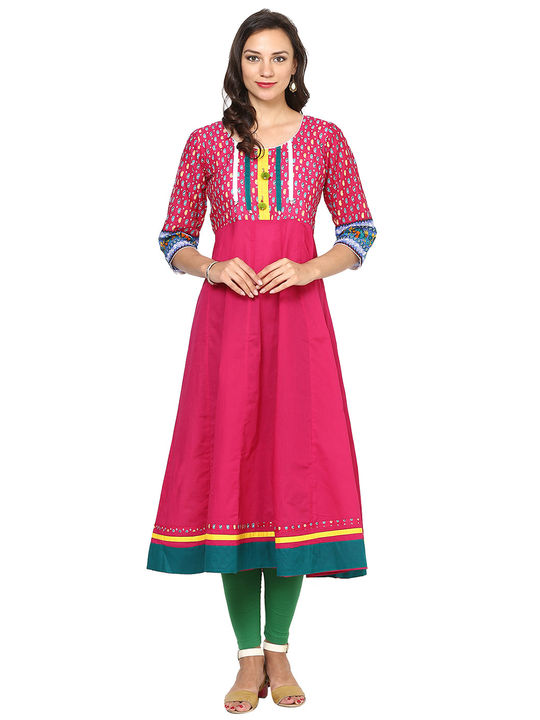 Aujjessa Fuschia Multi Cotton Anarkali Kurta