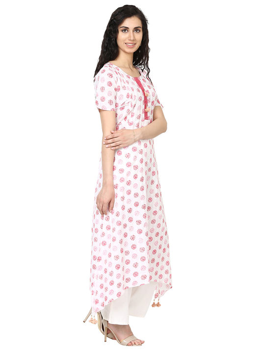 Aujjessa  White Red Asymmetrical Kurta