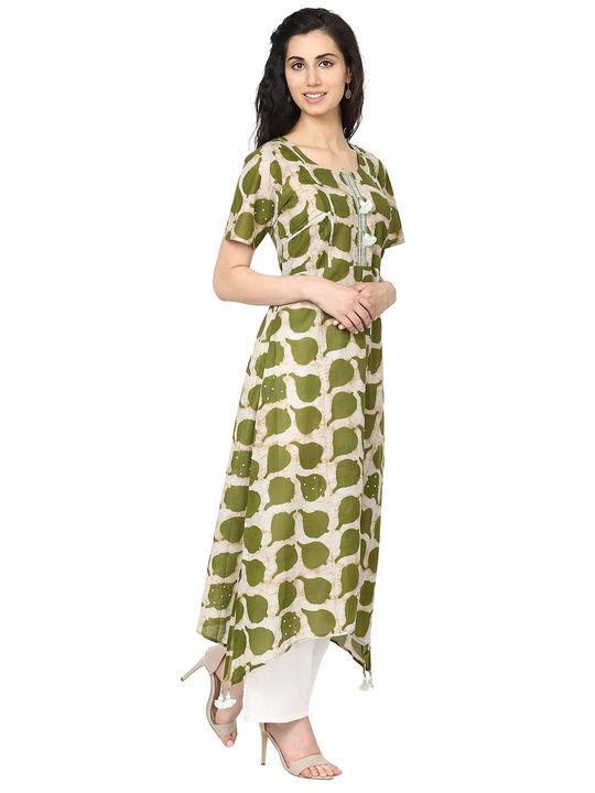 Aujjessa Beige Green Asymmetrical Kurta