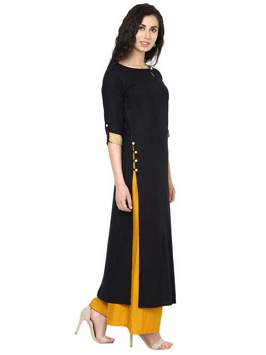 Aujjessa Black Straight Kurta