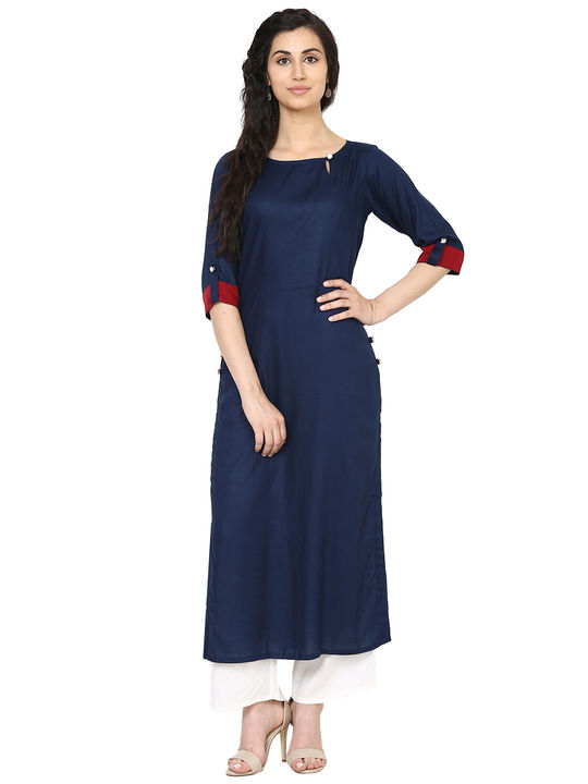 Aujjessa Navy Blue Straight Kurta