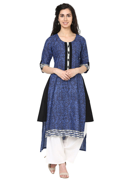 Aujjessa Blue Black High Low Kurta