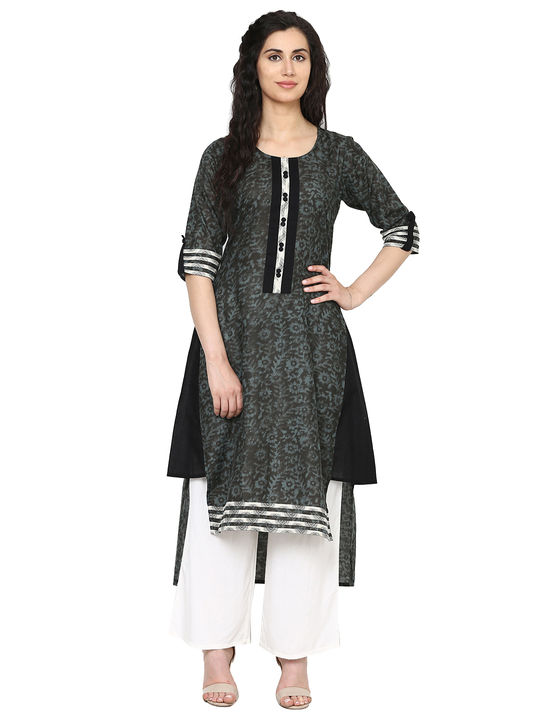 Aujjessa Grey Black High Low Kurta