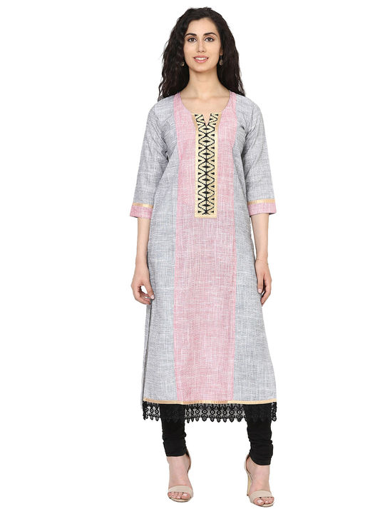 Aujjessa Black Red Straight Khaddi Kurta