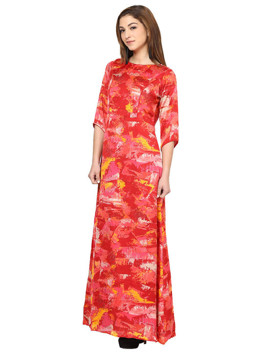 Aujjessa Coral Printed Maxi Dress