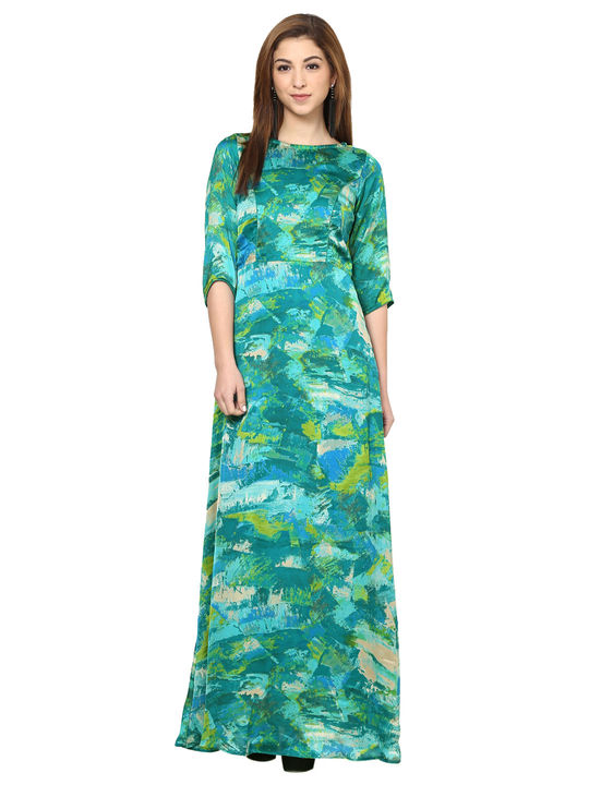 Aujjessa Sea Green Printed Maxi Dress