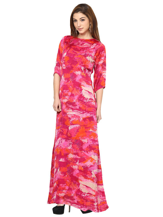 Aujjessa Fuschia Printed Maxi Dress