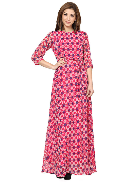 Aujjessa Fuschia Multi Printed Maxi Dress