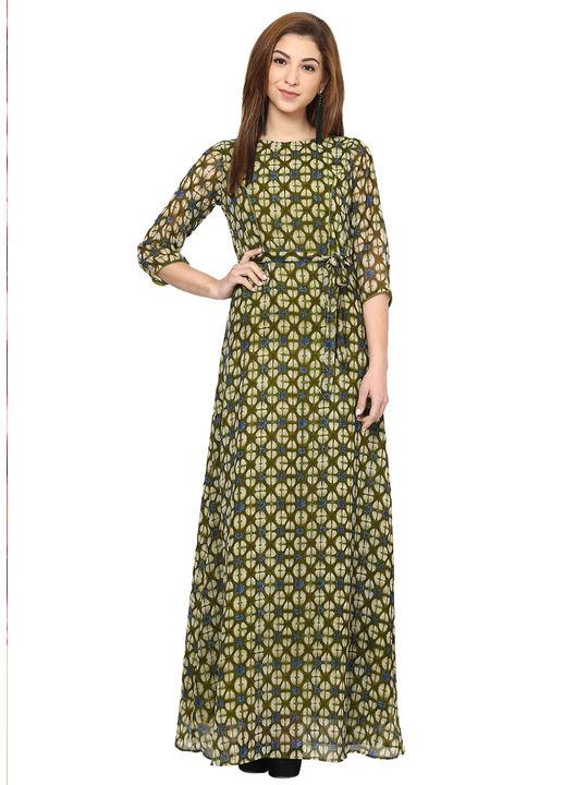 Aujjessa Olive Green Printed Maxi Dress