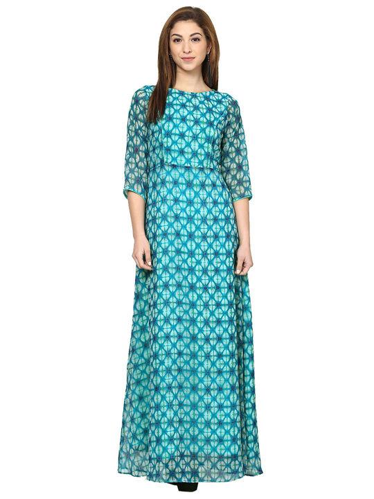 Aujjessa Teal Blue Printed Maxi Dress