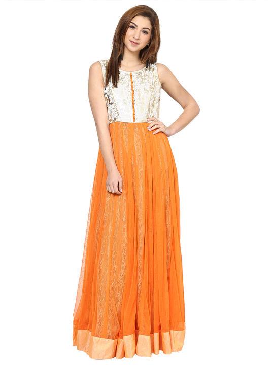 Aujjessa Orange Net Gown
