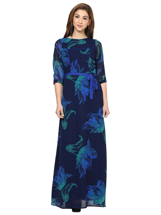 Aujjessa Navy Royal Blue Printed Maxi Dress